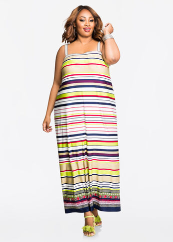 Tribal Border Stripe Tank Dress