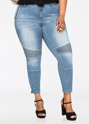 Moto Zip Ankle Jeans