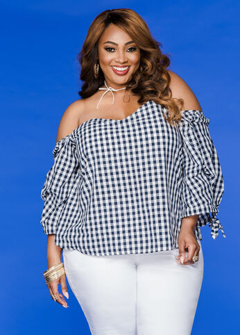Gingham Off-Shoulder Top Medieval Blue - Tops