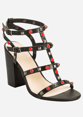 Jewels and Studs Block Heel Sandal - Wide Width