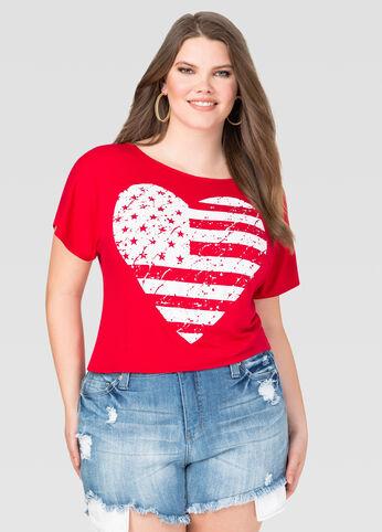 Flag Heart Crop Top