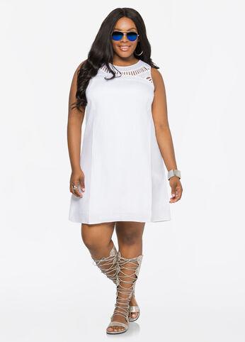 Crochet Yoke Linen Dress