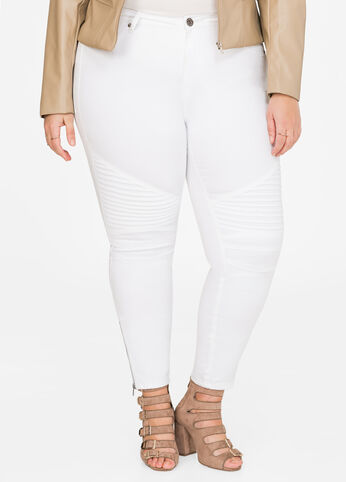 Zip Moto Ankle Skinny Pant White - Clearance