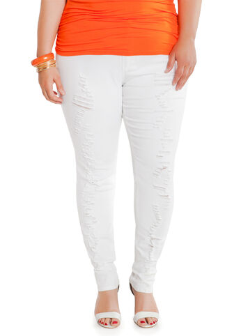 Destructed White Skinny Jeans