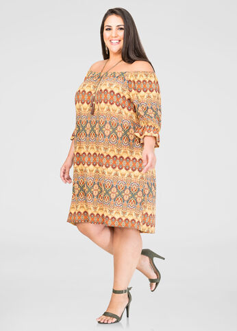 Paisley Off-Shoulder Dress