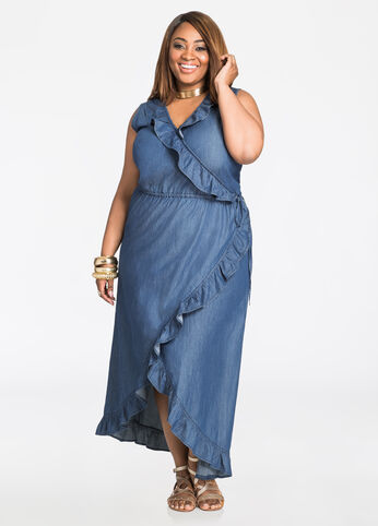 Ruffle Front Hi-Lo Wrap Maxi Dress Indigo - Dresses