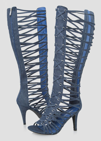 Denim Tall Gladiator Sandal - Wide Width Wide Calf - Shoes