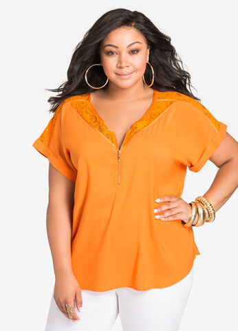 Zip Front Top with Lace Yoke Orange Ochre - Tops