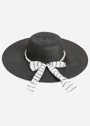 Striped Bow Sun Hat