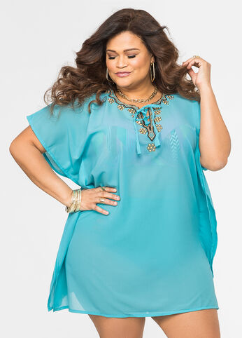 Embellished Lace-Up Swim Cover-Up Ocean Blue - Intimates