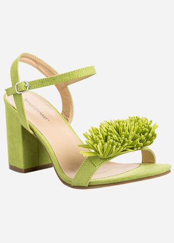 Fringe Block Heel Sandals - Wide Width