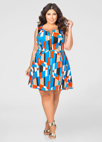 Colorblock Zip Skater Dress
