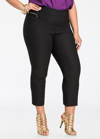 Deluxe Pull On Cropped Pant Black - Bottoms