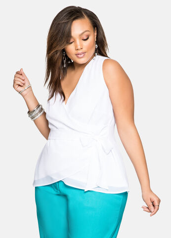 Chiffon Wrap Front Blouse White - Tops