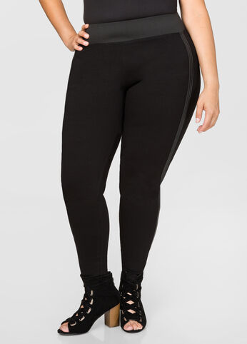 Faux Leather Side Ponte Pant Black - Clearance