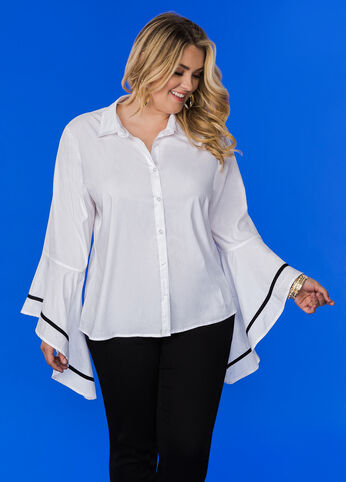 Bell Sleeve Classic Button Down