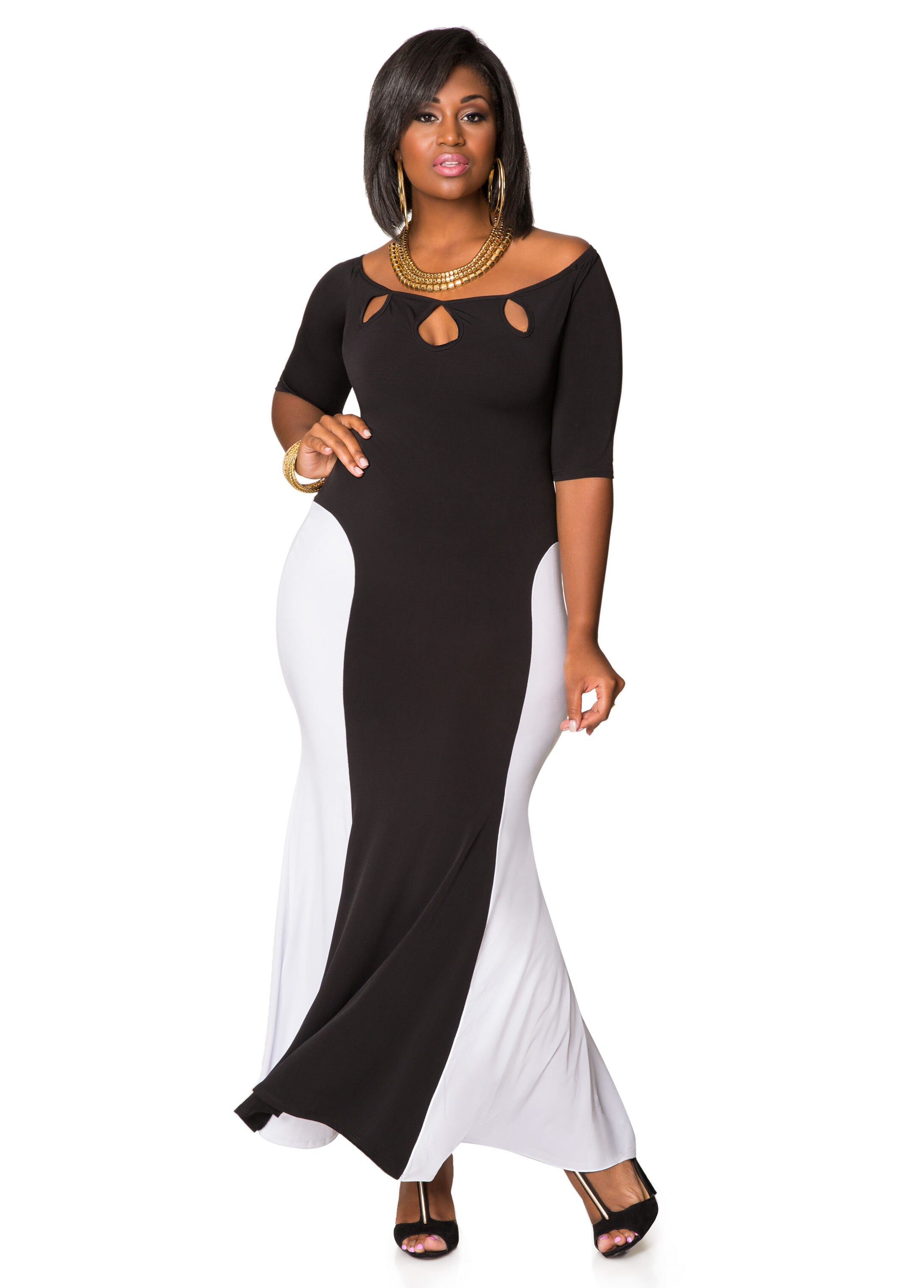 Triple Keyhole Colorblock Maxi Dress-Plus Size Dresses-Ashley Stewart