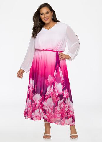 Ombre Floral Chiffon Maxi Dress Purple Magic - Clearance