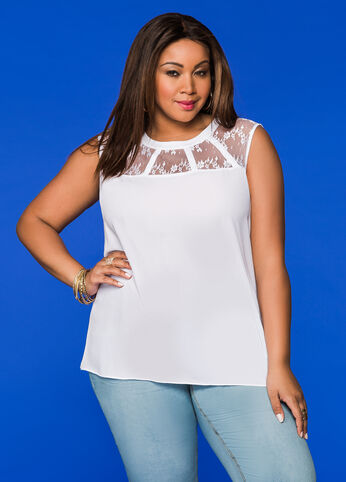 Lace Yoke Sleeveless Top