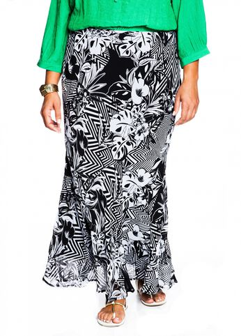 Black and White Yoryubatik Print Skirt