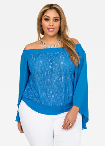 Lace Off-Shoulder Peasant Top Victoria Blue - Tops