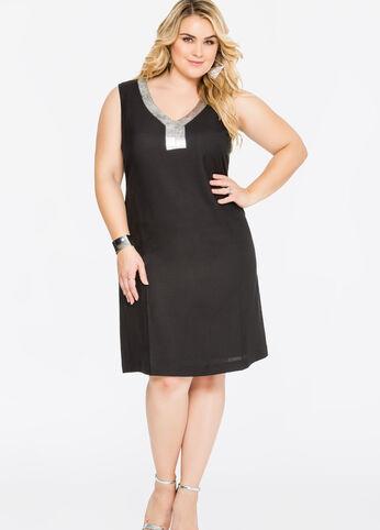 Metallic Detail Linen Sheath Dress Black - Dresses