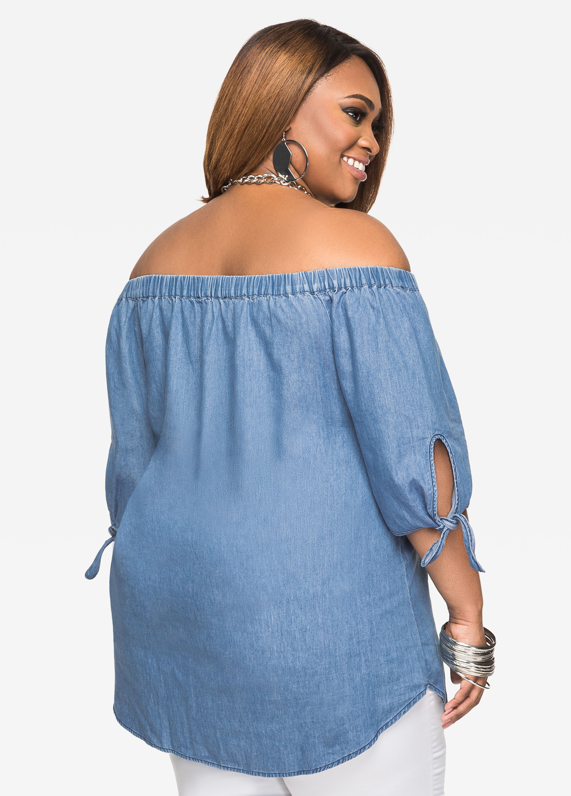 Plus Size Shirts - Chambray Off-Shoulder Top