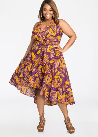 Tropical Print Tie Front Hi-Lo Dress