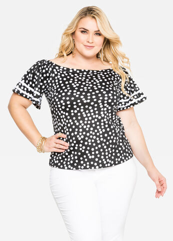 Off-Shoulder Polka Dot Top