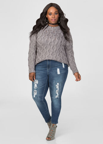 Sequin Lace Destructed Skinny Jean