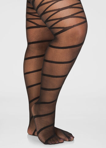 Spiral and Lace Up Sheer Tights
