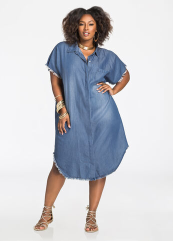 Raw Edge Button Front Chambray Shirtdress