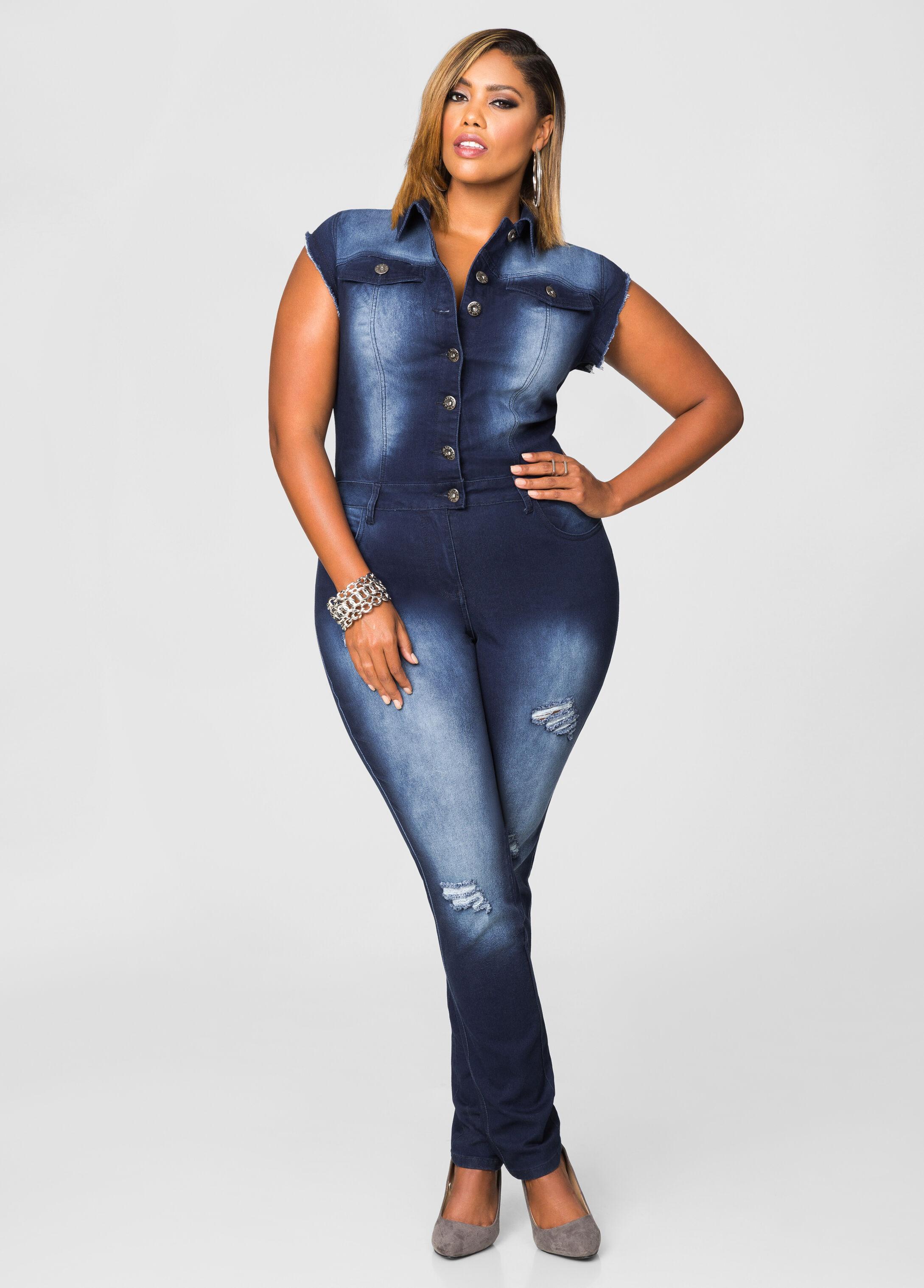 385c96567596 Destructed denim jumpsuit plus size coats ashley stewart jpg 346x482 Plus  size denim jumpsuits for women