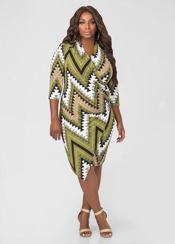 Chevron Faux Wrap Side Zip Dress