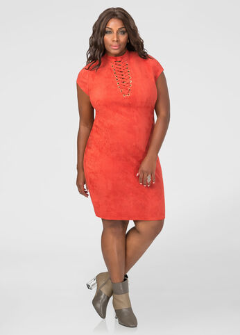 Microsuede Lace-Up Bodycon Dress