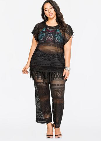 Crochet Cover-Up Pants Black - Swim