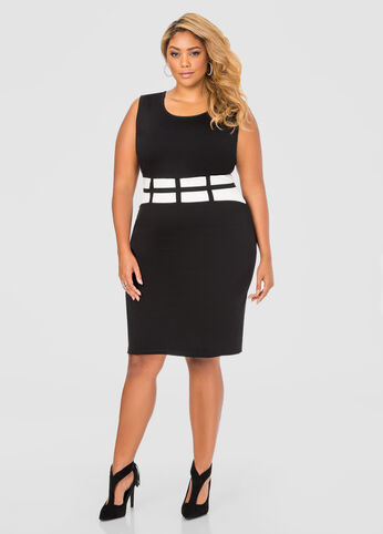 Grid Waist Sheath Dress