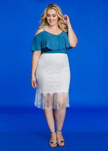 Fringe Lace Overlay Skirt