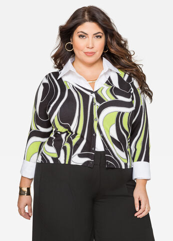 Black Abstract V-Neck Cardigan