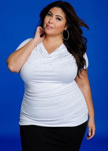 Studded Drape Neck N Ruched Top White - Tops