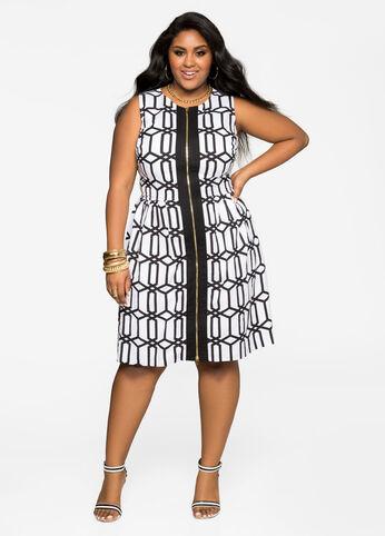 Geo Zip Front Linen Dress