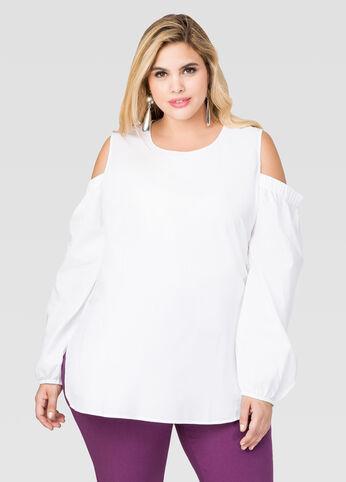 Cold Shoulder Poplin Shirt