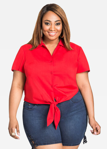 Tie Front Button-Up Poplin Blouse Barbados Cherry - Tops