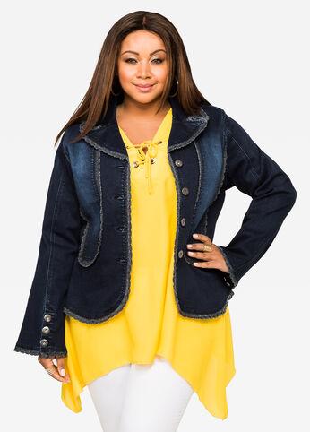 Crochet Ruffle Lace Jean Jacket Medium Blue - Clearance
