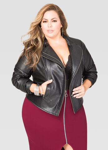 Contrast Faux Leather Moto Jacket
