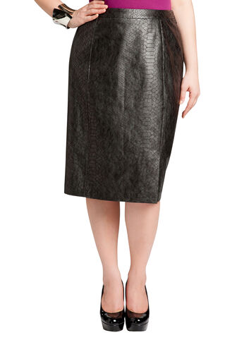 Faux Leather Animal Print Skirt