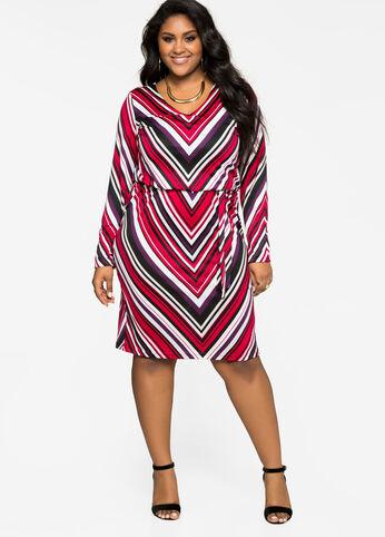 Blouson Chevron Print Dress