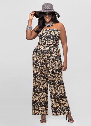 Tropical Strapless Linen Jumpsuit