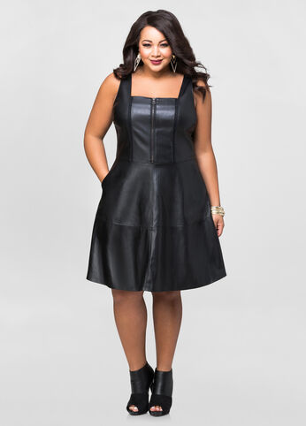 Faux Leather  Skater Dress