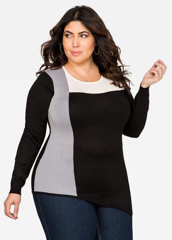 Asymmetrical Colorblock Sweater